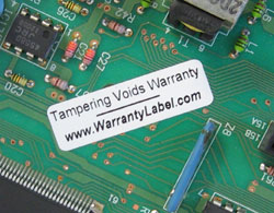 Warranty labels and stickers are tamper evident and void if removed.