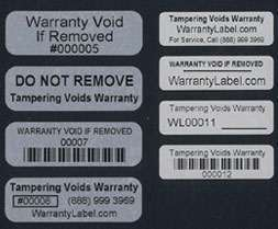 Tamper Evident Labels are void if removed
